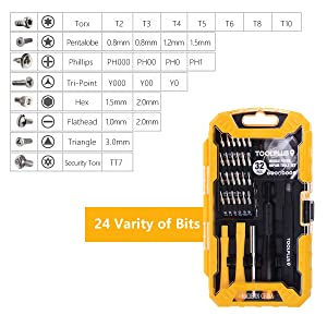 Precision Screwdriver Set, 32 in 1 Magnetic Driver Kit iPhone 7 Repair Opening Pry Tool Kits with Tweezer, 24 Bits and Portable Cover for Phone, PC and Electronic Devices (Tamaño: 32 in 1 set)