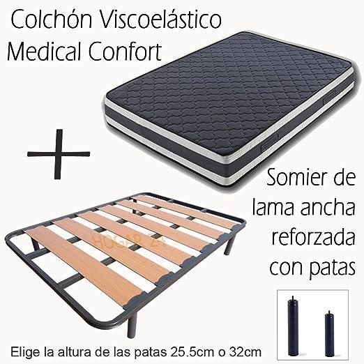SOMIER DE LAMA ANCHA REFORZADO CON TACOS ANTI-RUIDO Y 4 PATAS DE 26CM + COLCHÓN VISCOELÁSTICO DOBLE CARA MEDICAL CONFORT-90x190cm
