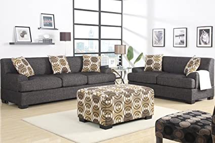 2 pc Brenda collection ask black gray faux linen fabric upholstered Sofa and Love seat set with set back arms