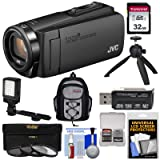 JVC Everio GZ-R460 Quad Proof 1080p HD Video Camera Camcorder (Black) with 32GB Card + LED Light + Backpack + Tripod + Kit