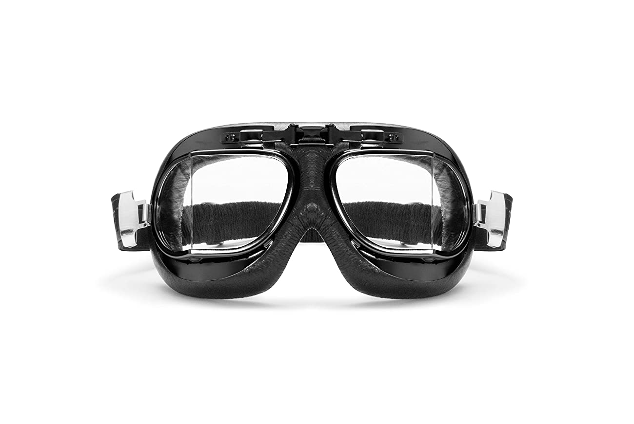 Vintage Motorcycle Goggles with Antifog and Anticrash Squared Lenses - Steel Profile - by Bertoni Italy - AF193A 2