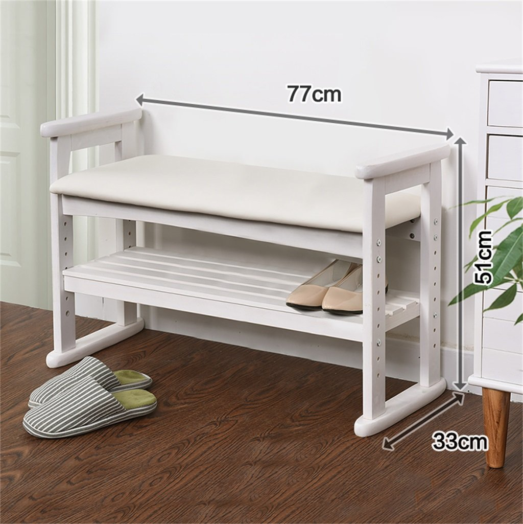 Wooden Change Shoe Stool Foot Stool Upholstered Footrest Bench Shoe Storage Bench with Seat Cushion Ottoman Hallway Bench Shoes Rack