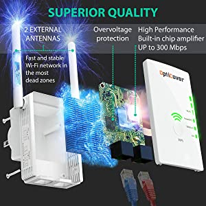 [Newest 2019] WiFi Extender with WPS Internet Signal Booster - Wireless Repeater 2.4GHz Band Up to 300 Mbps - Best Range Network/Compatible with Alexa/Extends WiFi to Smart Home/Alexa Devices (Color: White 300mb, Tamaño: 300MB)