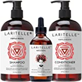 Laritelle Organic Hair Growth Set | Shampoo 17 oz + Conditioner 16 oz + Hair Loss Treatment 4 oz | Ayurvedic Herbs, Lavender, Ginger, Rosemary | NO GMO, Sulfates, Gluten, Alcohol, Parabens, Phthalates (Tamaño: Shampoo+Conditioner+Treatment)