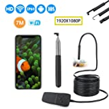 Wireless Endoscope, YINAMA WiFi Borescope WiFi Endoscope 23.33ft/7m Snake Inspection Camera IP68 Waterproof Borescope for All iOS Android Phone, iPhone iPad Tablet PC