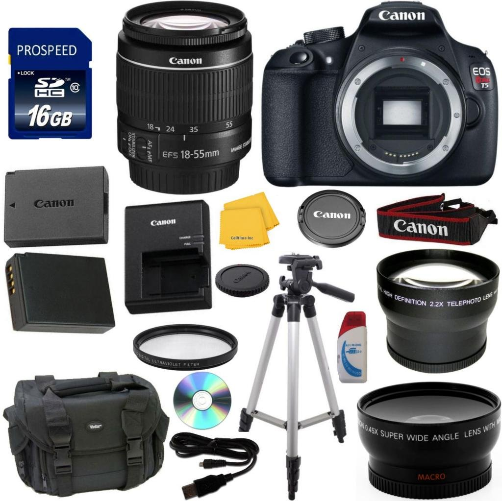 Canon-EOS-Rebel-T5-Digital-SLR-Camera-Bundle-with-EF-S-18-55mm-IS-II-Lens-Celltime-Exclusive-Kit-with-Extra-Battery-Telephoto-Lens-Wide-Angle-Lens-7pc-Accessory-Kit