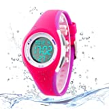 Kids Digital Sport Watch Outdoor Waterproof Watch with Alarm for Child Boy Girls Gift LED Kids Watch Rose Purple (Color: Rose Purple)
