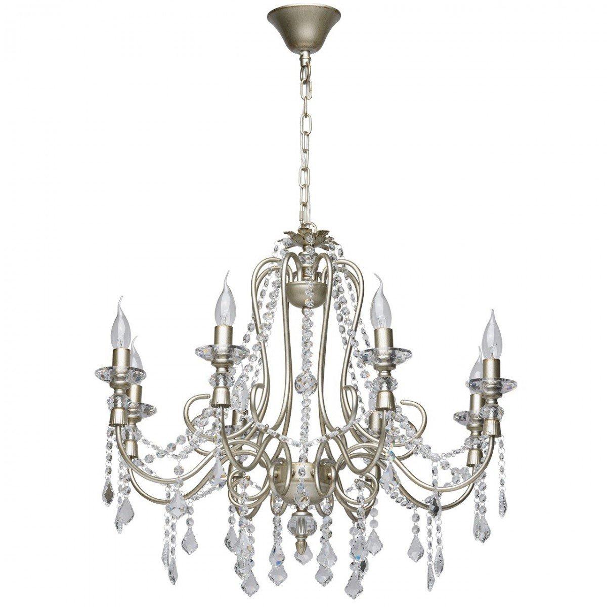 Deckenleuchte Kronleuchter Deckenlampe Leuchte Classic Style, 8-flammig, Ø 76 cm, Silber Antik mit Kristallen, 8 x E14 max. 40 W
