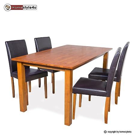 Homestyle4u Esstisch Essgruppe 4 Stuhle Dining Set Tisch Esszimmer Stuhl Tischgruppe braun