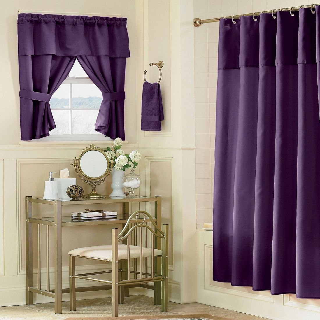 Deep Purple Shower Curtain French Rose Shower Curtains