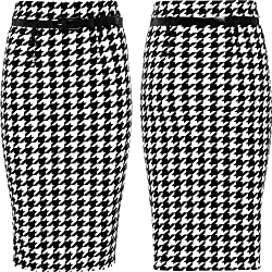 Women Belted Pencil Skirt Ladies Dog Tooth Print Knee Length Midi Bodycon Skirts