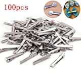 BoNaYuanDa 100 PCS Silver Alligator Hair Clip Flat Top with Teeth for Arts & Crafts Projects, Dry Hanging Clothing, Office Paper Document Organization,Hair Care(1.77 Inch)