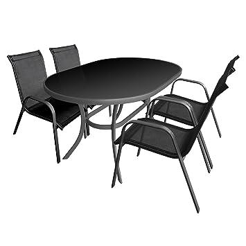 5tlg Balkonmöbel Set Gartengarnitur Sitzgruppe Aluminium Glastisch schwarze Tischglasplatte 140x90cm Gartenstuhl Stapelstuhl pulverbeschichtet mit Textilenbespannung Sitzgarnitur Terrassenmöbel