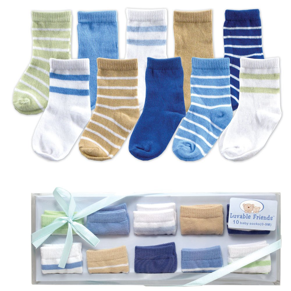Image: Luvable Friends 10-Piece Baby Socks Gift Set, Blue, 0-9 Months - These socks are stretchable for better fit, and are soft and comfortable to wear.