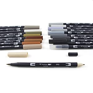 Tombow 56194 Dual Brush Pen Set, Neutral Palette, 20-Pack. Blendable, Brush and Fine Tip Markers . (Color: Neutral Palette)