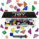 Mosaic Joy 230 Pieces/1 Pound Assorted Colors Genuine Mosaic Tiles Glitter Crystal Mosaic for Home Decoration Crafts Supply 10 Colors Assorted, Triangle, Rohmbus Mixed (Color: Assort Colors)