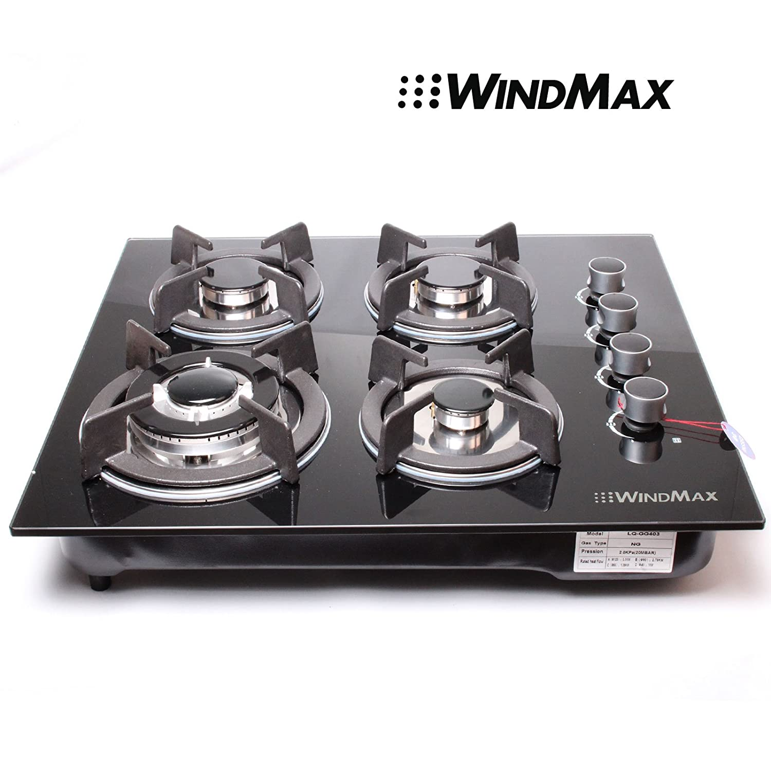"Windmax US Seller 24"" 3.3KW Kitchen Glass Built-in 4 Burners Gas Hob Cooktop Cookware"