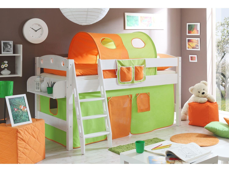 Hochbett Kenny R Buche weiß grün-orange