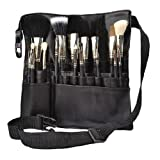 Hotrose® 22 Pockets Professional Cosmetic Makeup Brush Bag with Artist Belt Strap for Women (Color: Black)