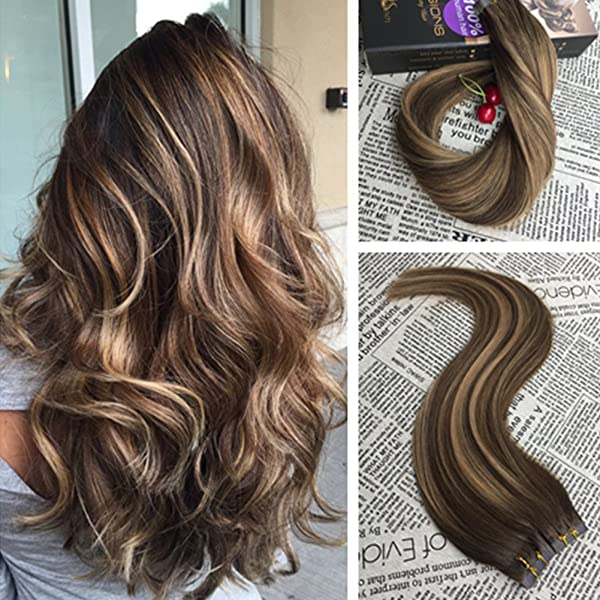 Moresoo 18 Inch 40pcs Hair Extensions Tape In Real Human Hair 100g