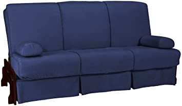 Epic Furnishings Bristol Perfect Sit and Sleep Inner Spring Microfiber Futon Sofa Sleeper Bed, Full-Size, Mahogany Finish, Dark Blue Upholstery