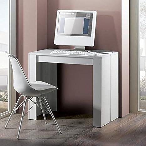 Table de salle à manger extensible en panneau de particules blanc - Dim : L 50/180 x P 90 x H 75cm - PEGANE -