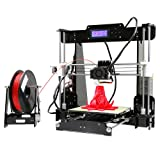KKmoon Anet A8 Upgraded High Precision Desktop 3D Printer Reprap i3 DIY Kits Self Assembly Auto Self-leveling Acrylic Frame with Aibecy Cleaning Cloth 8GB Memory Card 1 Roll of Filament