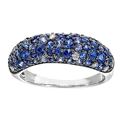 Naava 9 ct White Gold Diamond and Sparkling Shades of Blue Sapphire Eternity Ring - Size P