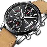 NIBOSI Mens Watches Leather Analog Quartz Watch Men Date Business Dress Wristwatch Men's Waterproof Sport Clock (Silver Black) (Color: 2327HM, Tamaño: M)
