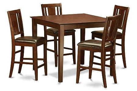 East West Furniture EWBU5-MAH-LC 5-Piece Gathering Table Set