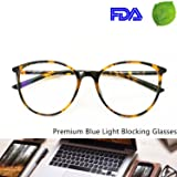Blue Light Blocking Computer Glasses - Round Light Weight Comfortable Fit Anti Eye Strain Anti Glare UV 400 (Color: Tortoise, Tamaño: Suitable for middle and big face)