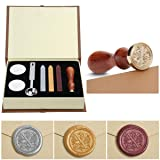 Wax Seal Stamp Kit,Mingting Vintage Wax Stamp Seal Kit Initial Letters Alphabet (X) (Color: X)