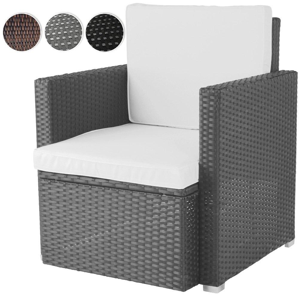 Bequemer Loungesessel aus Polyrattan Gartenmöbel inkl. Sitzkissen -Farbwahl- Gartensessel günstig bestellen