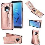 Scheam Samsung Galaxy S9 Plus Leather Wallet Case with Pouches Samsung Galaxy S9 Plus Flip Cover, Pouches, Phone case Case (Rose Gold) (Color: Rose Gold)