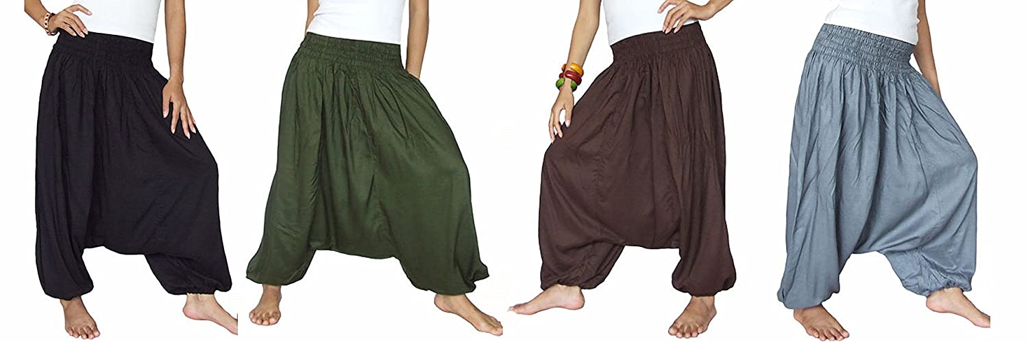 Pack Four Aladin Pants, Drop Crotch Harem Workout Pants, Women Loose Baggy Pants, Indian Bohemian Style Black/olive/dark Brown/charcoal Color women high waist denim harem pants vintage style bleached pants casual ripped hole ankle length loose soft harem jeans