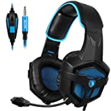 SADES New SA807S Over-ear Stereo Gaming Headset Headband Headphones with Microphone/Control-remote/Noise-Reduction for PC Computers/Mac/Laptop/PS4/New Xbox One/Cellphons/Tablets (Black Blue) (Color: SA807 Black Blue)
