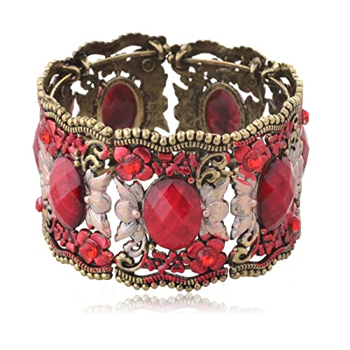 Flower Bronze Resin CZ Rhinestone Drop Hollowed Bracelet Bangle