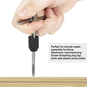 Hakkin 9 Pcs Adjustable T-Handle Tap Holder Wrench,Machine Thread Taps Set Tapping Threading Tool Set with 4 Pcs Metric Taps Set (M3-M6 Taps),4 Pcs Drill Bits