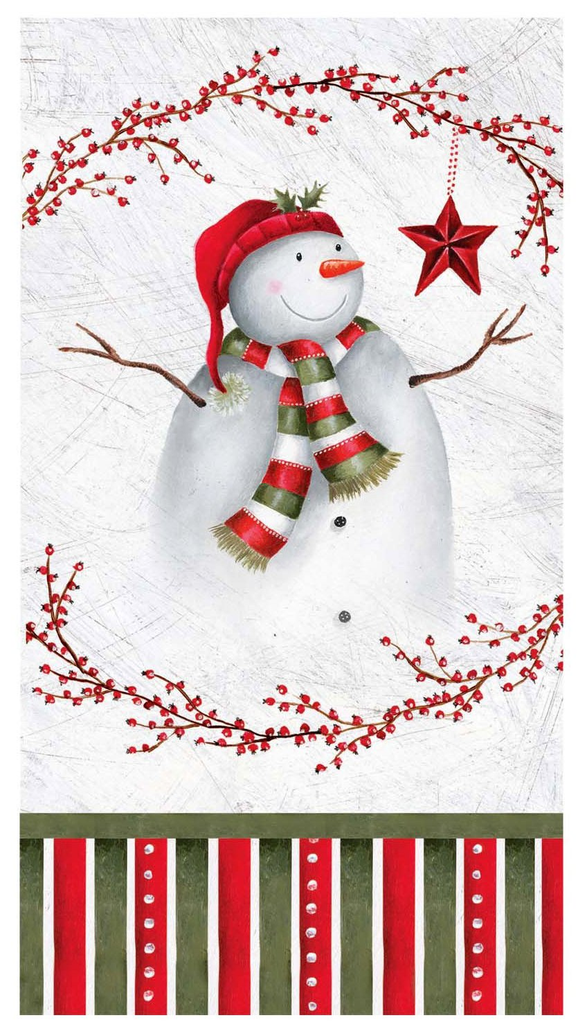 C.R. Gibson 16 Count Winter Berry Snowman Guest Towel or Dinner Napkins