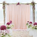 Tulle-Backdrop-Curtains-Peach for Parties Weddings Baby Shower Birthday Photography Engagement 5ft x 7ft Drape Backdrop Photo Sheer Backdrop (Color: sheer peach)