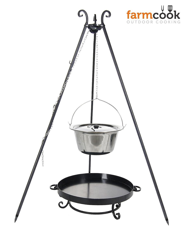 Farmcook Schwenkgrill – Dreibein mit Kessel aus Edelstahl und Feuerschale in 3 verschiedenen Größen (Set mit 10 Liter Kessel) günstig kaufen