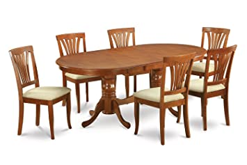 East West Furniture PLAV7-SBR-C 7-Piece Dining Room Table Set