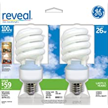 GE Lighting 75413 Reveal Spiral CFL 26-Watt (100-watt replacement) 1570-Lumen T3 Spiral Light Bulb with Medium Base, 2-Pack