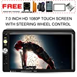 Upgraded 7 Inch Double Din Touch Screen Car Stereo Headunit with Free Rear Camera and Steering Wheel Control And Car Tuning Tools And Remote Control Support Mirror Link Audio Receiver MP5 Player