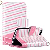 ULAK iPod Touch 7 Case, iPod Touch 6 & 5 Case, Flip PU Leather Wallet Stand Case Credit Card Holder Slots Shockproof Cover for Apple iPod Touch 5 / 6th / 7th Generation (Pink Stripes) (Color: Pink)