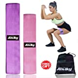 ANKIVY Booty Bands Fabric Resistance Bands for Legs and Butt Exercise Elastic Hip Bands 2019 Upgraded (Pink Purple) (Color: Pink Purple)