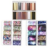 30 Colors Nail Foil Transfer Sticker, Kalolary Holographic Flower Starry Sky Metallic Nail Art Stickers Tips Wraps Foil Transfer Adhesive Glitters Acrylic DIY Nail Decoration(3 Boxes/Big Size) (Color: Nail Foil Transfer Sticker)