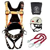 Protecta PRO Comfort Harness With Reflective Webbing and Reinforced Belt (Size-M/L) + Protecta 1340161 PRO 6' Shock Absorbing Lanyard + 3M SecureFit Safety Helmet, X5001VX + Bolt Bag 5416TFR (Color: Orange Kit, Tamaño: Medium / Large)