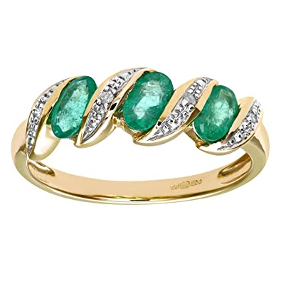 Naava 9ct Yellow Gold Diamond and Emerald Eternity Ladies Ring