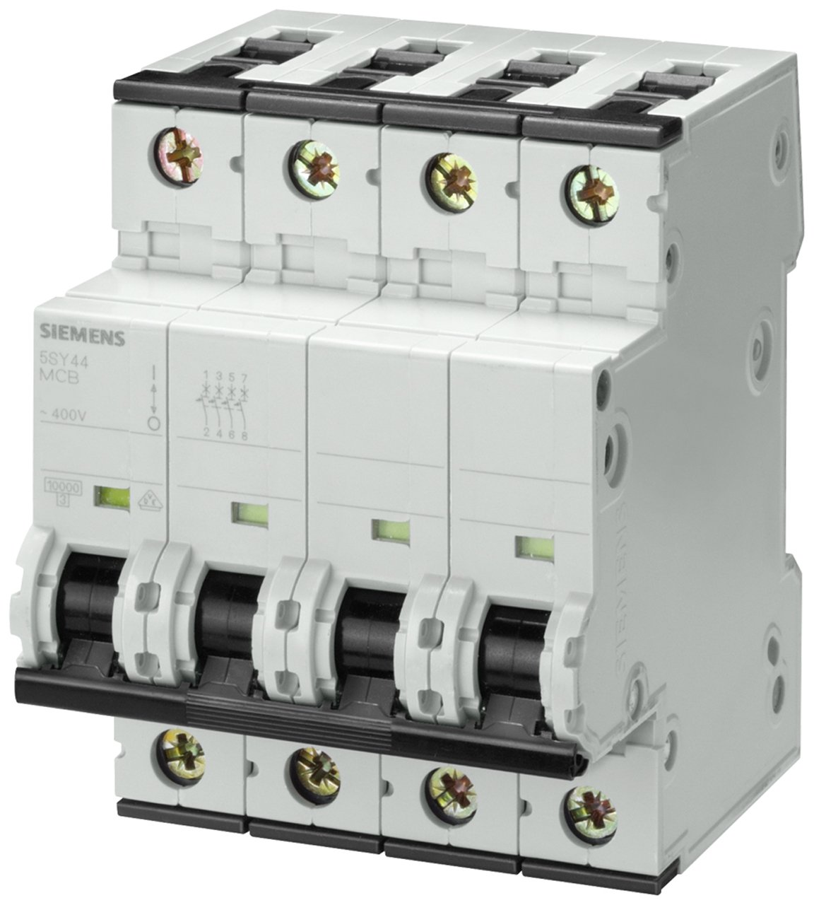 Siemens 5SY44327 Supplementary Protector, UL 1077 Rated, 4 Pole Breaker, 32 Ampere Maximum, Tripping Characteristic C, DIN Rail Mounted